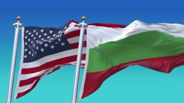 4k United States of America USA and Bulgaria National flag in sky background.