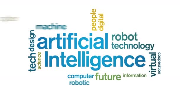 4k Artificial Intelligence Animated Tag AI Word Cloud,Text Design Animation.