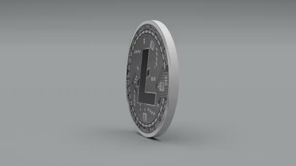 4k litecoin coin ltc kryptowährung logo 3d rotieren finanzierung monetäre geschäft.