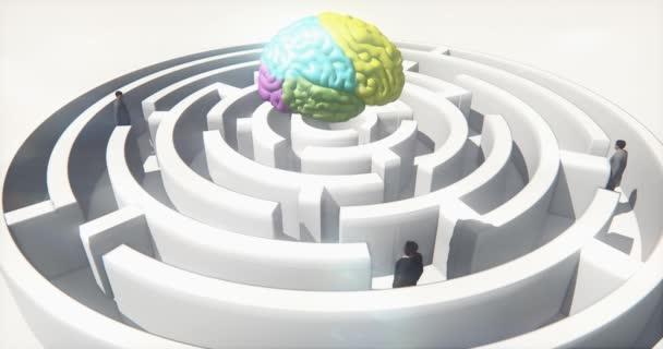 4k farbiges Gehirn über dem Labyrinth, Geschäftsleute im Stehen, künstliche Intelligenz.