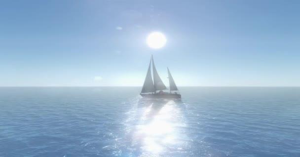 4 k plachetnice plachtění na moři, svítí slunce, široký oceán vlny povrch.