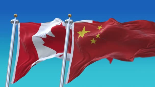 4k Seamless Canada and China Flags with blue sky background,CAN CA CHN CN.