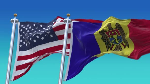 4k United States of America USA and Moldova National flag seamless background.