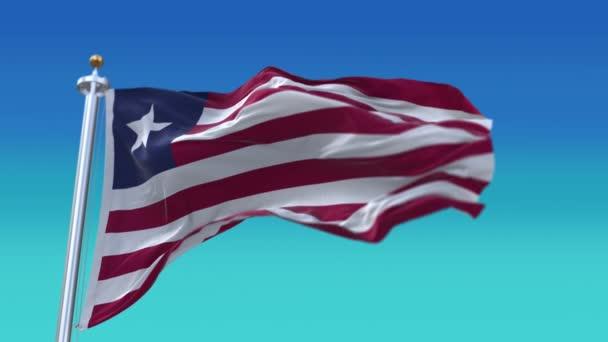 4k Liberia Nationalflagge Falten wehen Wind Himmel nahtlose Schleife Hintergrund.