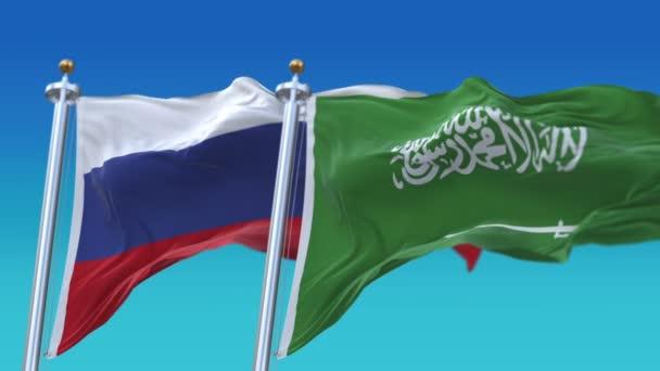 4k Bezešvé Saúdská Arábie a Rusko vlajky s modrým nebem pozadí, Ksa Rus.