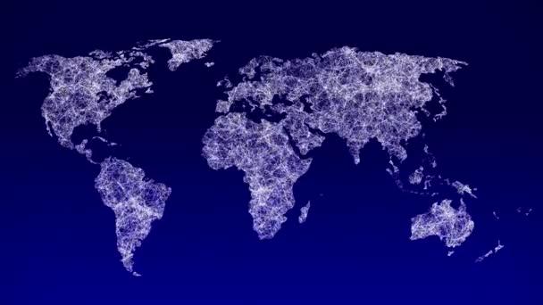 4k World map nodes concept, tečky spojující čáru, tečky vytvářejí globální mapu světa.