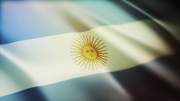 4k Argentina National flag wrinkles wind in Argentine seamless loop background.