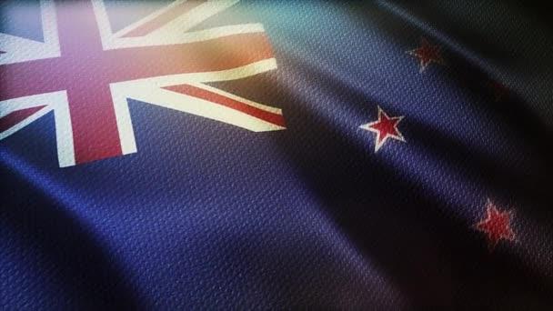 4k Új-Zéland zászló integetett a szél zökkenőmentes hurok háttér, ruha textúra.