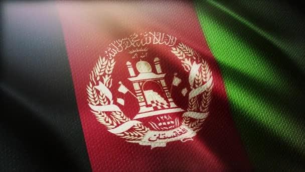 4k Afghanistan National flag wrinkles wind in Afghan seamless loop background.