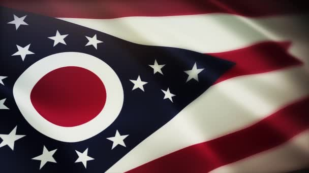 4k Ohio flag,State in United States America,cloth texture loop background.