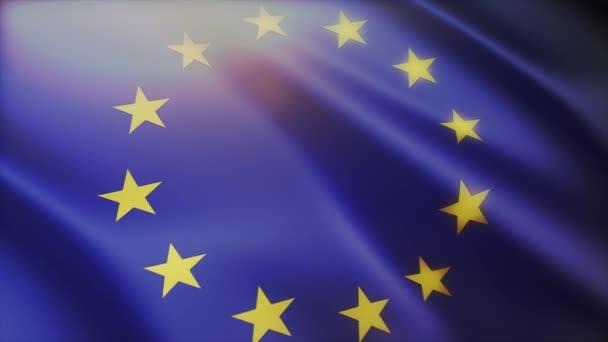 4k Az Európai Unió zászlója zászlórúddal a szélben.