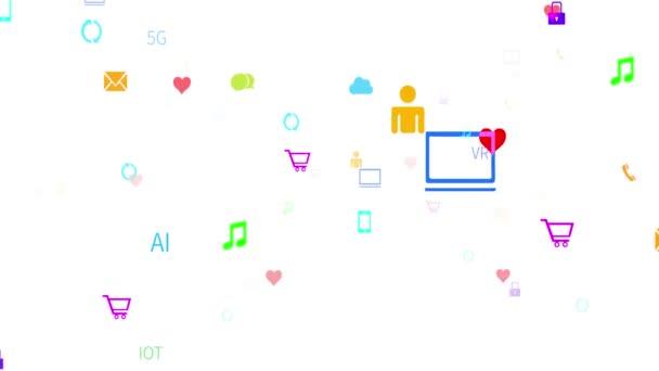 Virtuelles 4k-Internetkonzept, Online-Dienste und Social-Media-Ikonen im Aufwind
