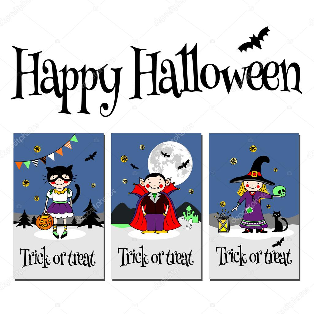 Happy halloween trick or treat cards invitation or greeting cards happy halloween trick or treat cards invitation or greeting cards stock vector 126022476 m4hsunfo Choice Image