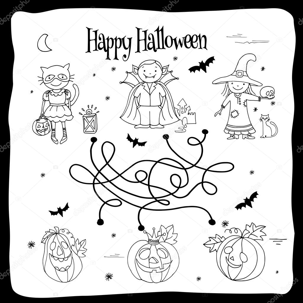 Happy Halloween coloring sheet with labyrinth, kids in costumes ...