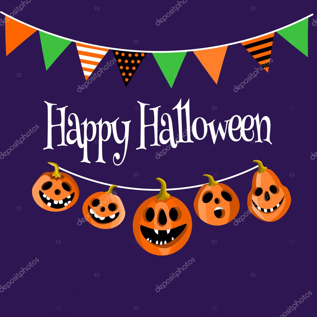 Kürbis Laternen Mit Fahnen, Halloween Gruß, Einladungskarte,  Vektor Illustration U2014 Stockvektor #126415862