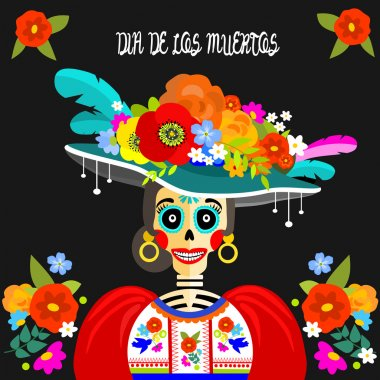 Dressed skull. Dia de Los Muertos greeting or invitation card for the Mexican Day of the Dead.