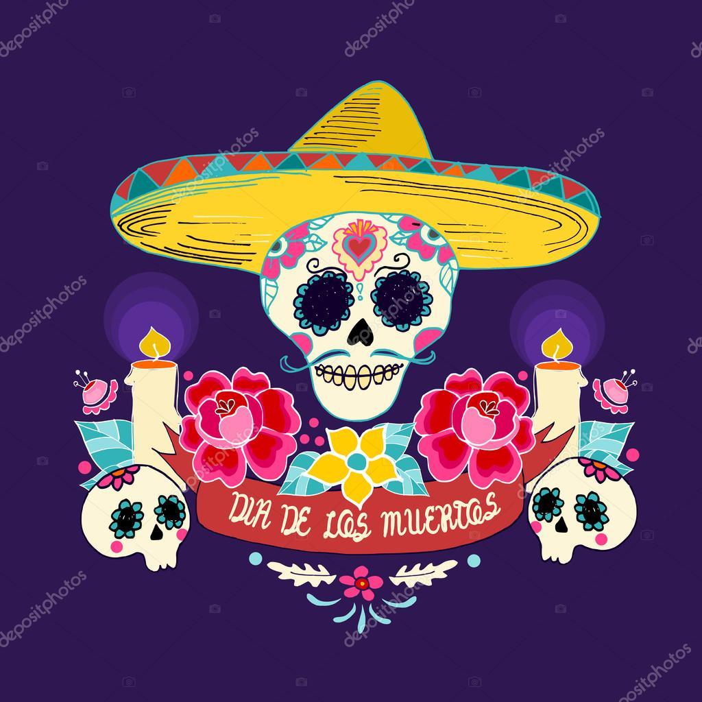 Mexikanischen Dia de Los Muertos (Tag der Toten) Schädel mit ...