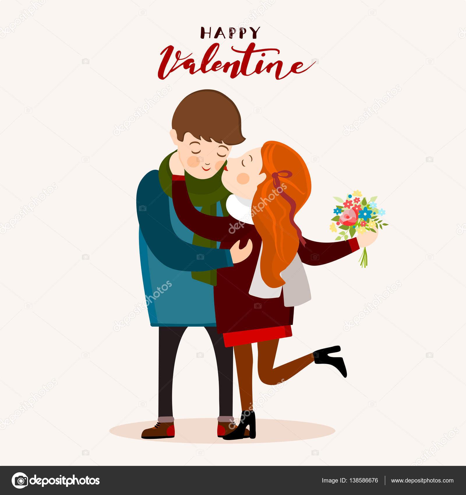 カップルがキス、バレンタインの日のグリーティング カード、ベクトル