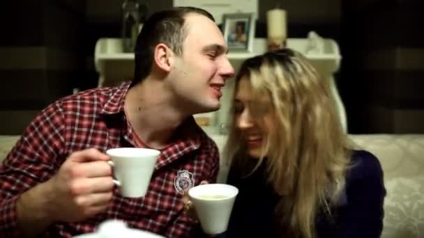Two lovers drink tea in the restaurant