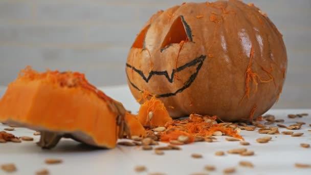 Pumpkin pulp close-up. Pumpkin seeds. Pumpkin in the cut. Autumn Pumpkin Harvest. Halloween Cooking