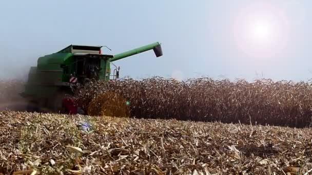Tractor plowing field. Harvesting. Aerial footage.