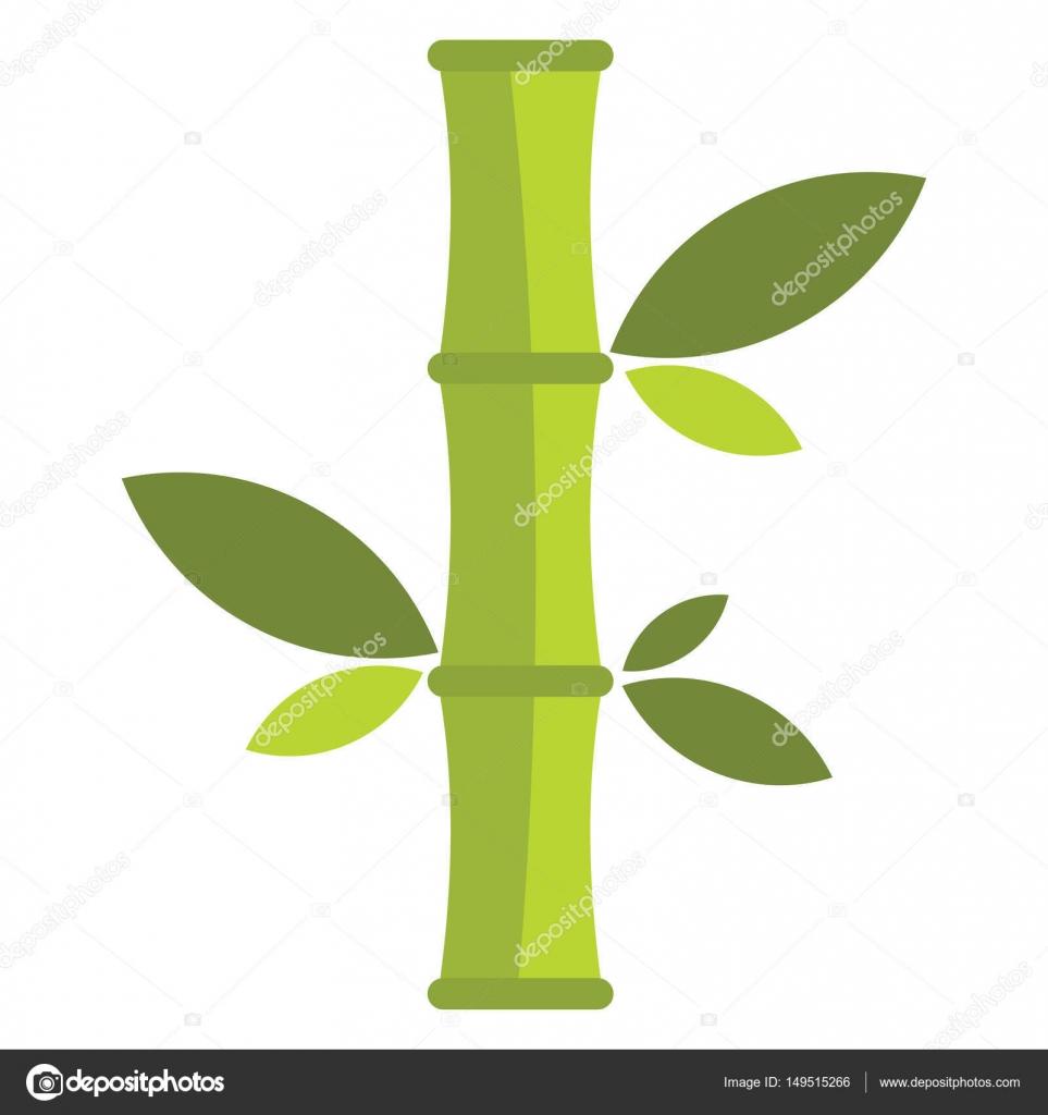Flache Cartoon Gruner Bambus Symbol Isoliert Auf Weissem Hintergrund