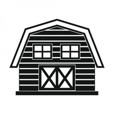Farm house in black simple style isolated on white background