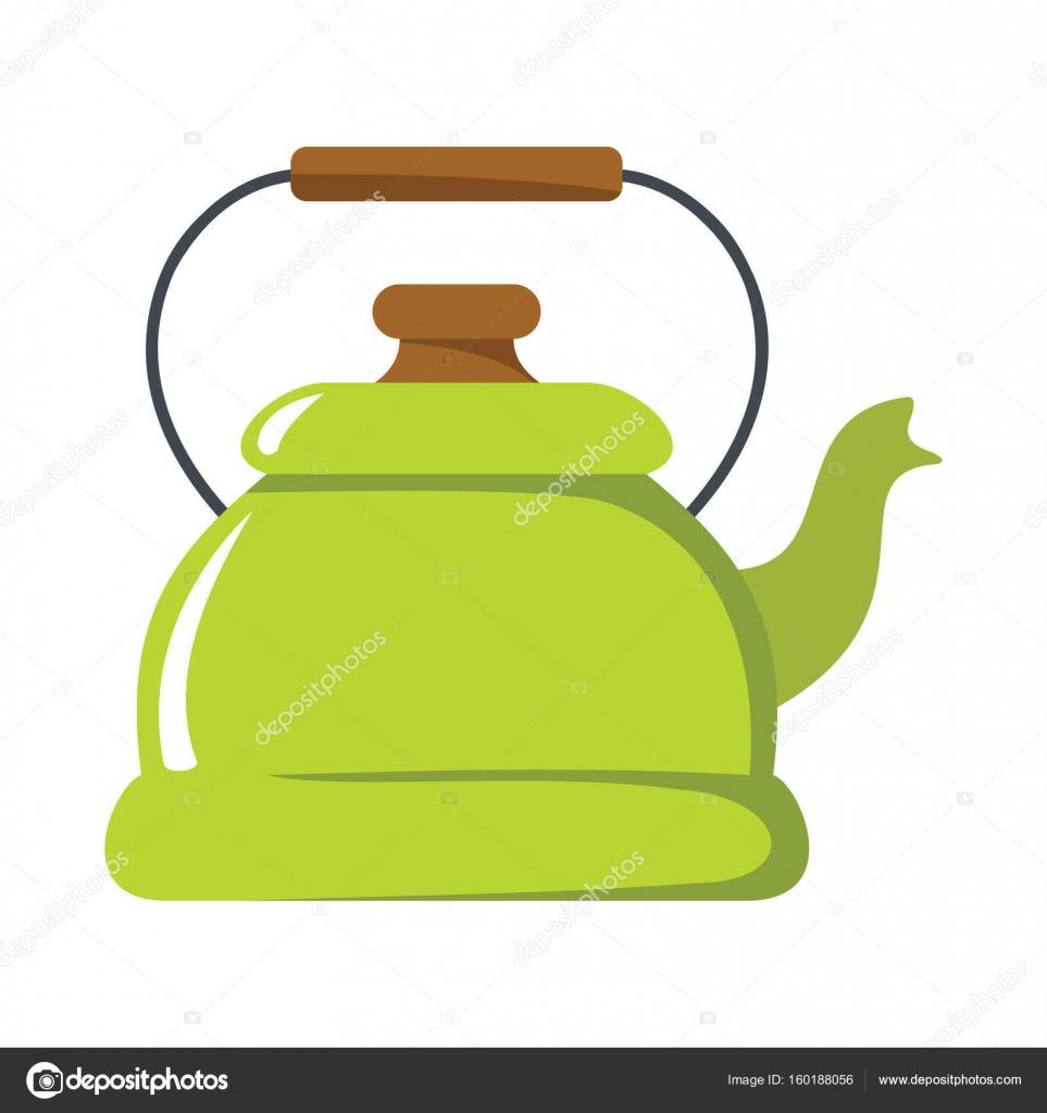 Wasserkocher-Cartoon-Symbol. Küchengeräte, Geschirr und ...