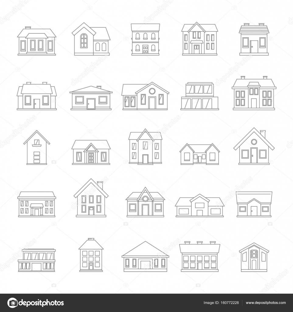Häuser Symbolsatz Im Einfachen Stil Dünne Linie Auf Weißem Hintergrund Für  Immobilien Design U2014 Stockvektor