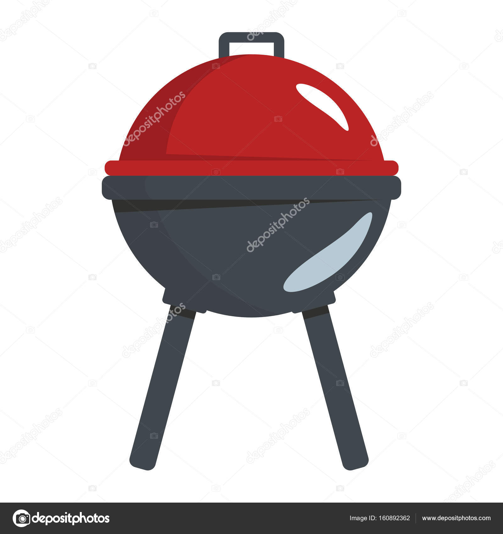 BBQ grill in cartoon flat style isolated on white background