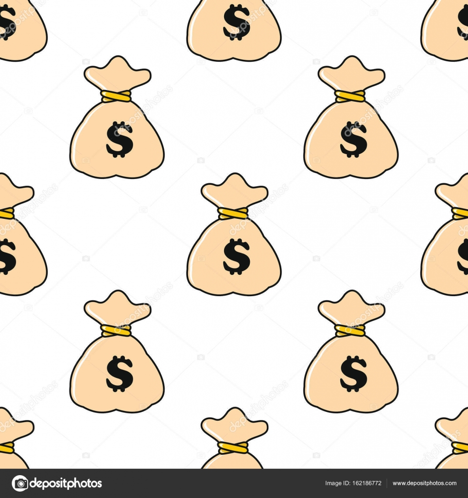 Dinero bolsa de patrones sin fisuras en estilo de dibujos animados ...