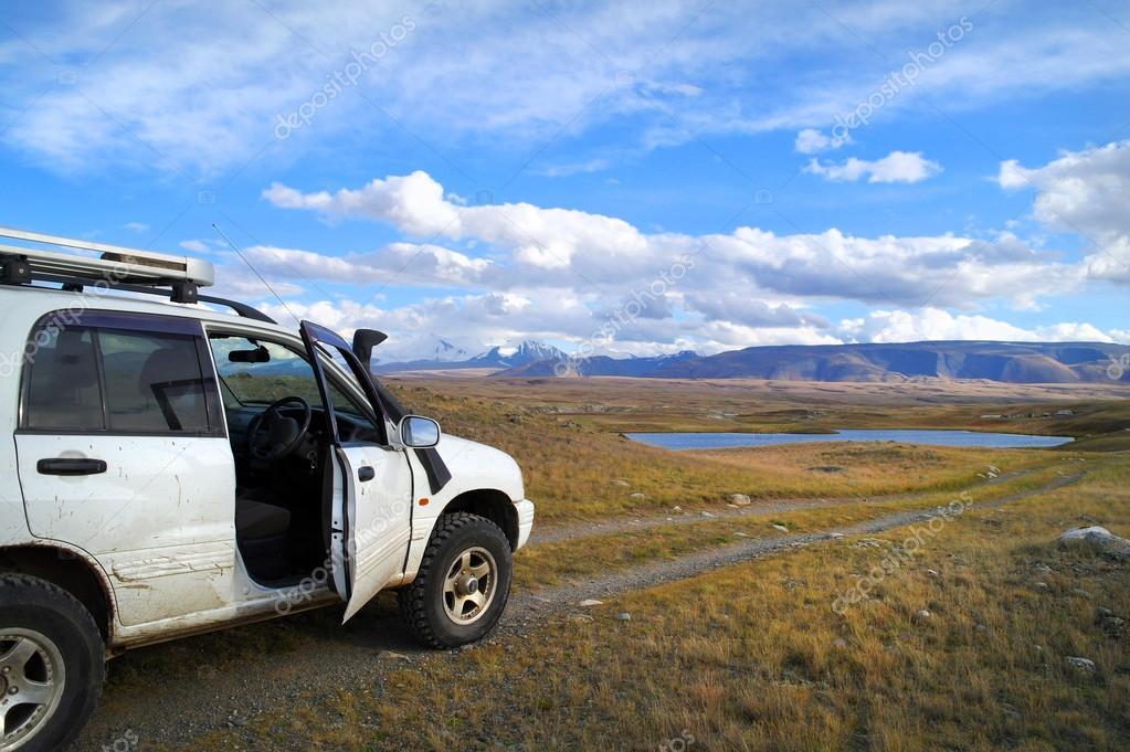 Off-road tourists car on Plateau Ukok