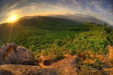 Sunset of the Russian Primorye mountains