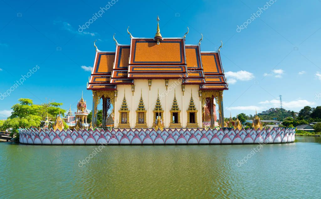 fish pond at Wat Plai Laem temple at Samui Island, Thailand