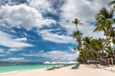 Tropical beach background from Alona Beach at Panglao Bohol isla