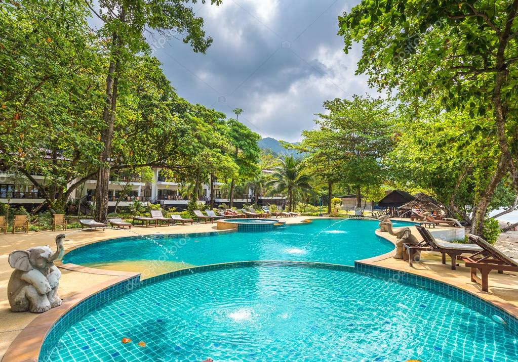 beautiful swimming pool in public tropical resort , Koh Chang, T