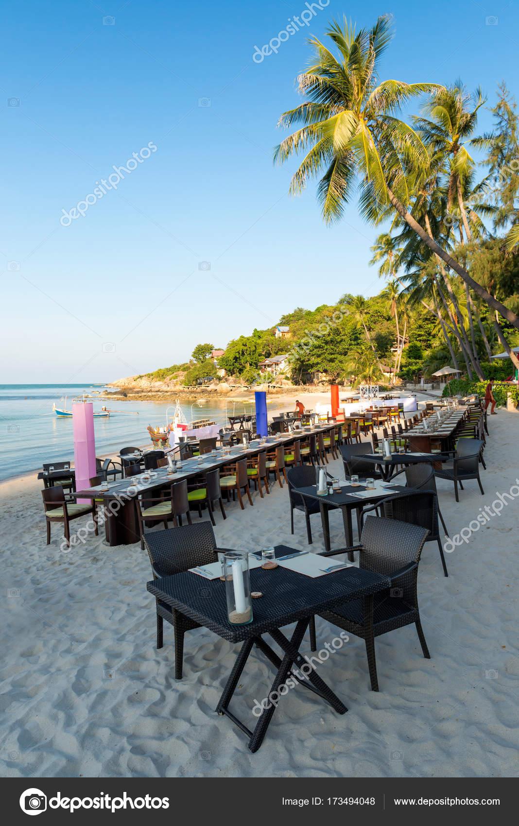 Beach Restaurant At The Koh Samui Island In Thailand Stock