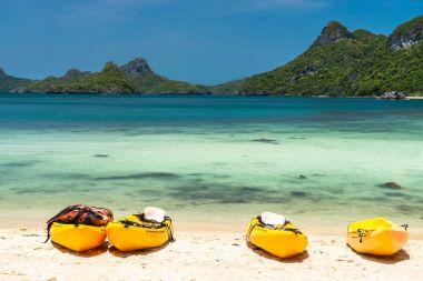 kayaks on a beach at Angthong national marine park near Koh Samu