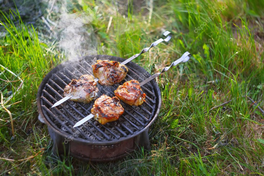 appetizing pieces of roasted meat on the fire