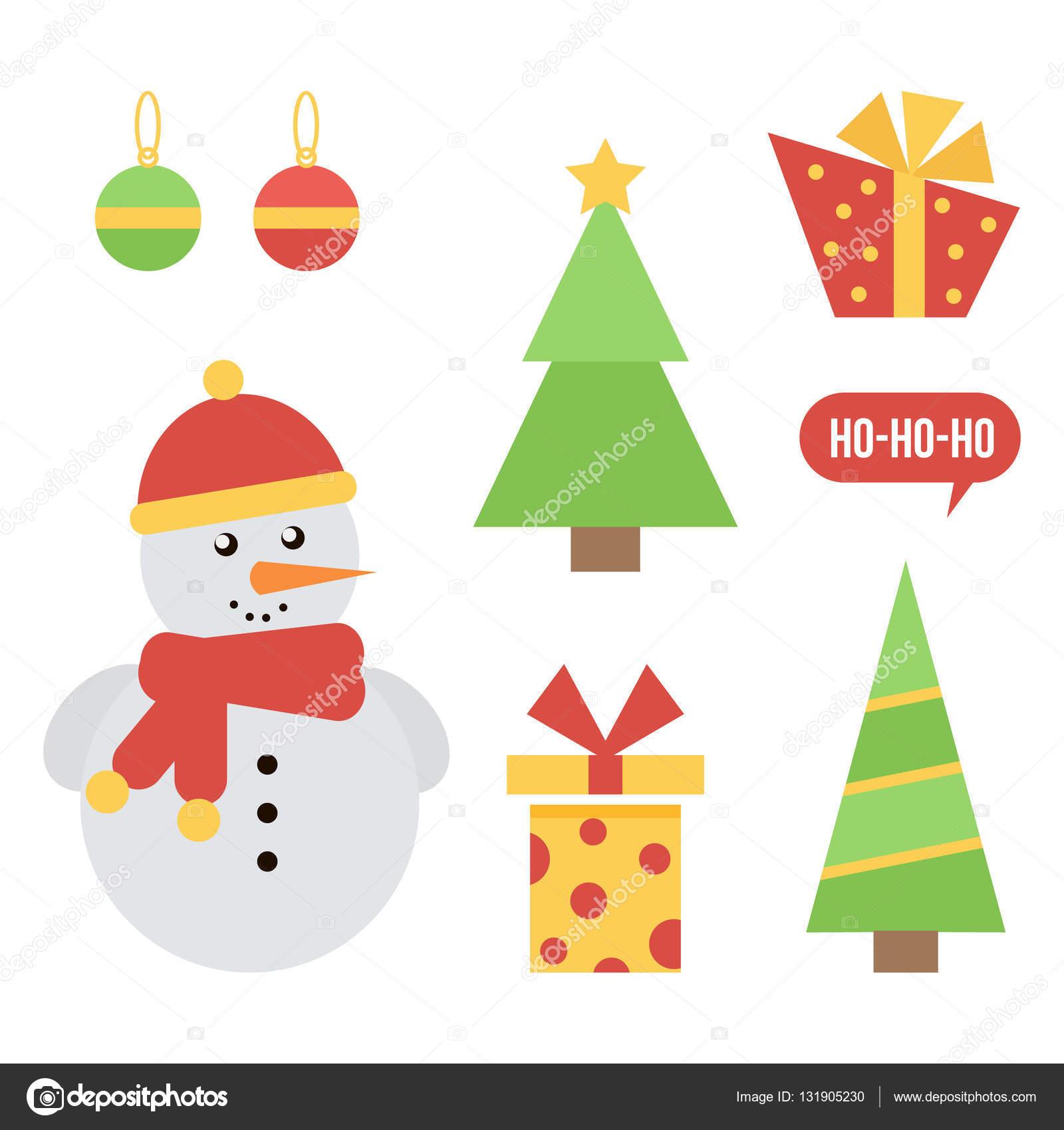 Immagini Carine Di Natale.Insieme Delle Icone Di Natale E Capodanno Carine Isolato Su