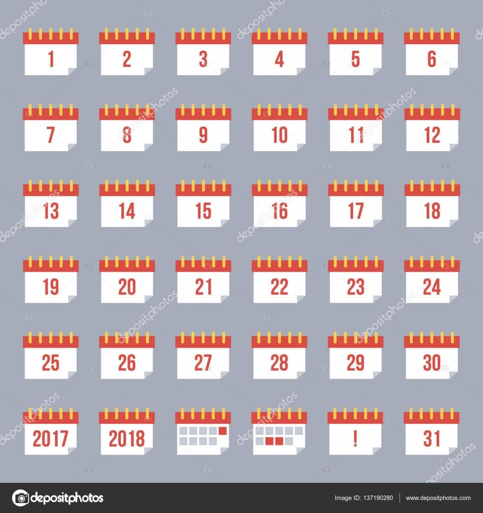 Conjunto Coleccion De Iconos De Calendario De Diseno Plano Con