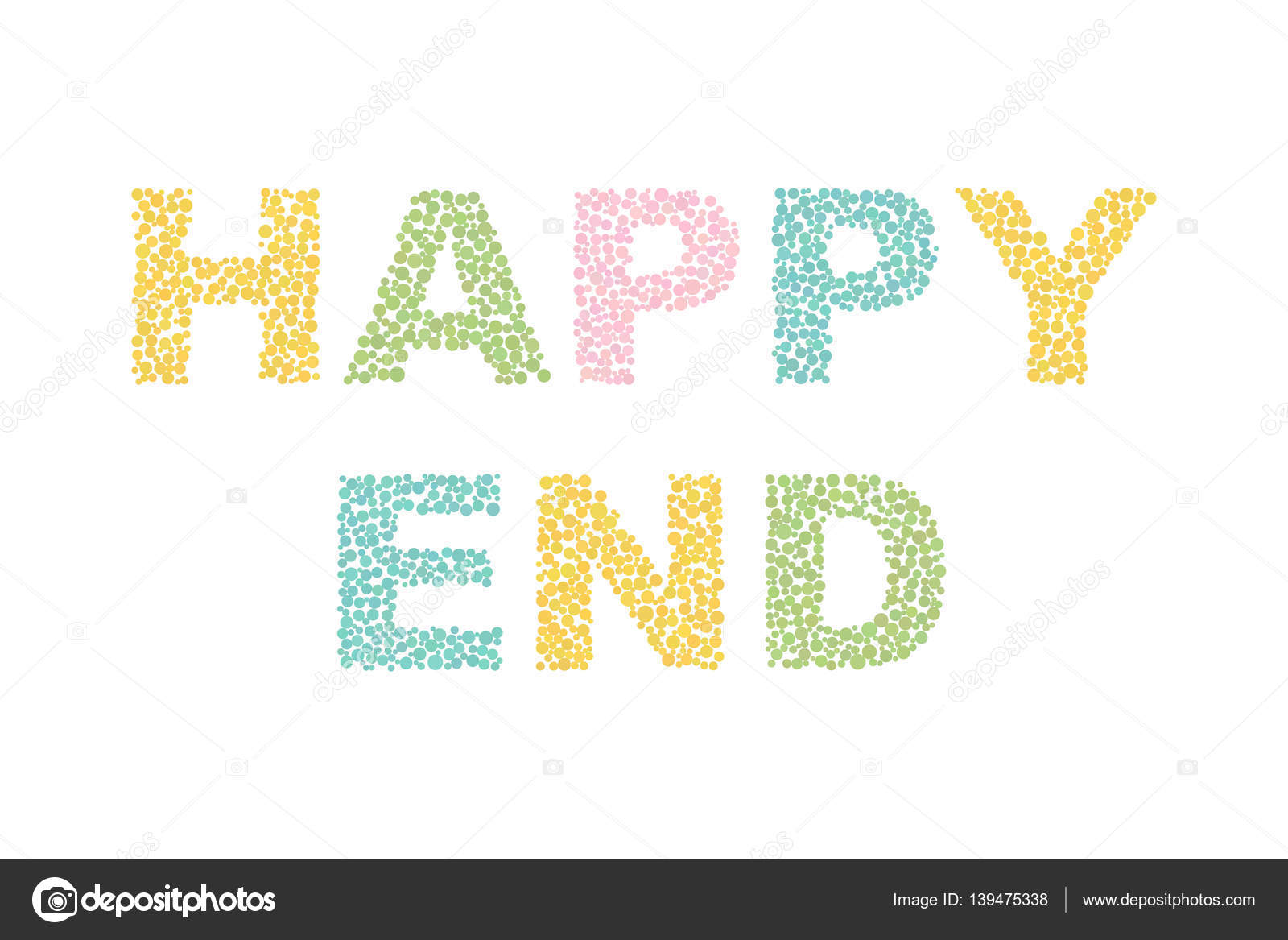 Cute and colorful Happy End phrase, words isolated on ...