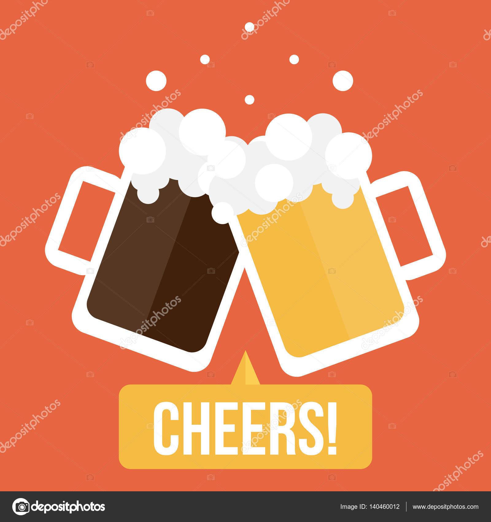 ビールのカップル ガラスとフラットなデザイン イラスト乾杯乾杯