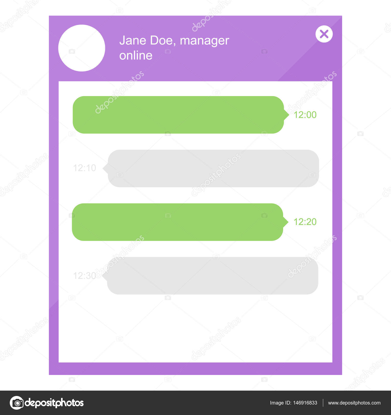 Flat design online chat with manager template. Speech bubbles, web ...