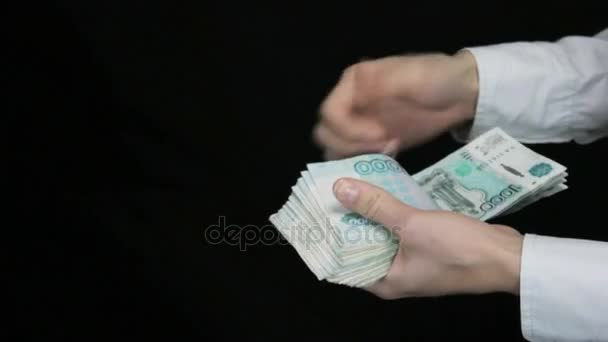 Handshake men and women to give cash, counting money