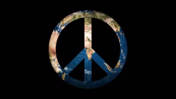 Ikona podepsat mír odhalující otáčení země světa