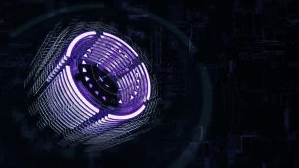 Cilindro 3d Viola Sta Ruotando Nello Spazio Sfondo Una Scheda Di Carica Elettrica 4k