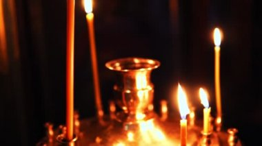 Rotating hyperlapse candle holder candles stock video mikemols candle holder with burning candlesticks in the christian orthodox church ccuart Images