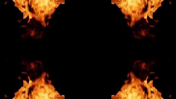 Rám ze skutečného požáru pro text v centru smyčky video
