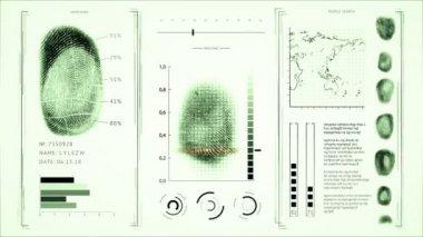 Screen fingerprint scanning, interface people search finger prints Green color